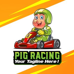 Pig Racing Cartoon